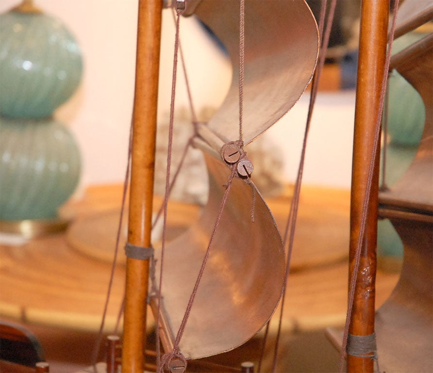 Handcarved Junk with 3 bentwood sails 6