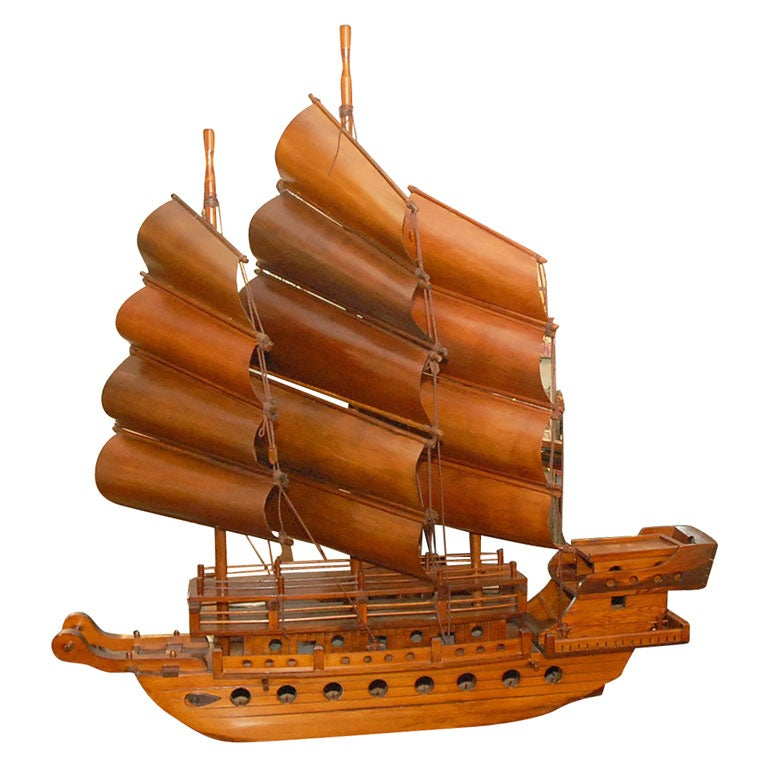 Handcarved Junk with 3 bentwood sails