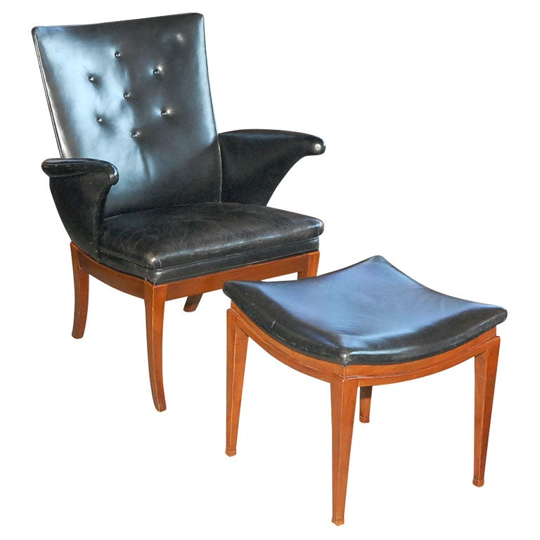 this frits henningsen black leather low easy chair and ottoman is no