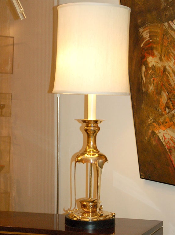 Brass Pair of Lamps in the Style of James Mont
