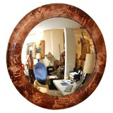ROUND PARCHMENT MIRROR  WITH  A HIGH GLOSS FINISHED