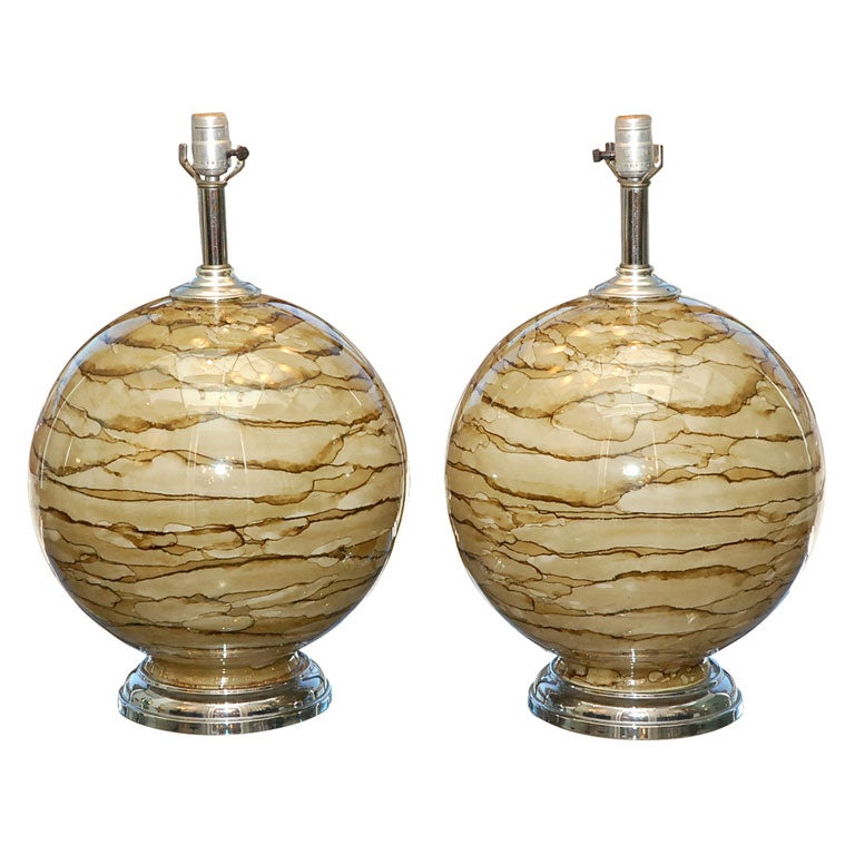 pair of hand blown glass lamps at 1stdibs. Black Bedroom Furniture Sets. Home Design Ideas