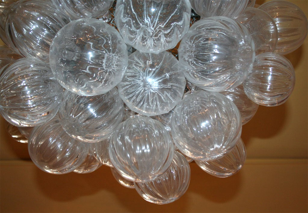 Clear Handblown Glass Bubble Chandelier at 1stdibs