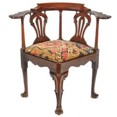 Irish Georgian Mahogany Corner Reading Chair