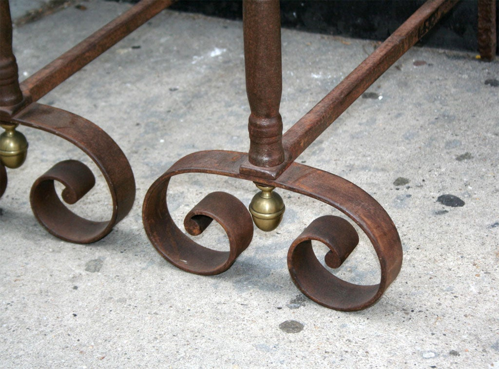 A Pair of Boldly Executed 19th c. French Steel Andirons In Excellent Condition For Sale In New York, NY
