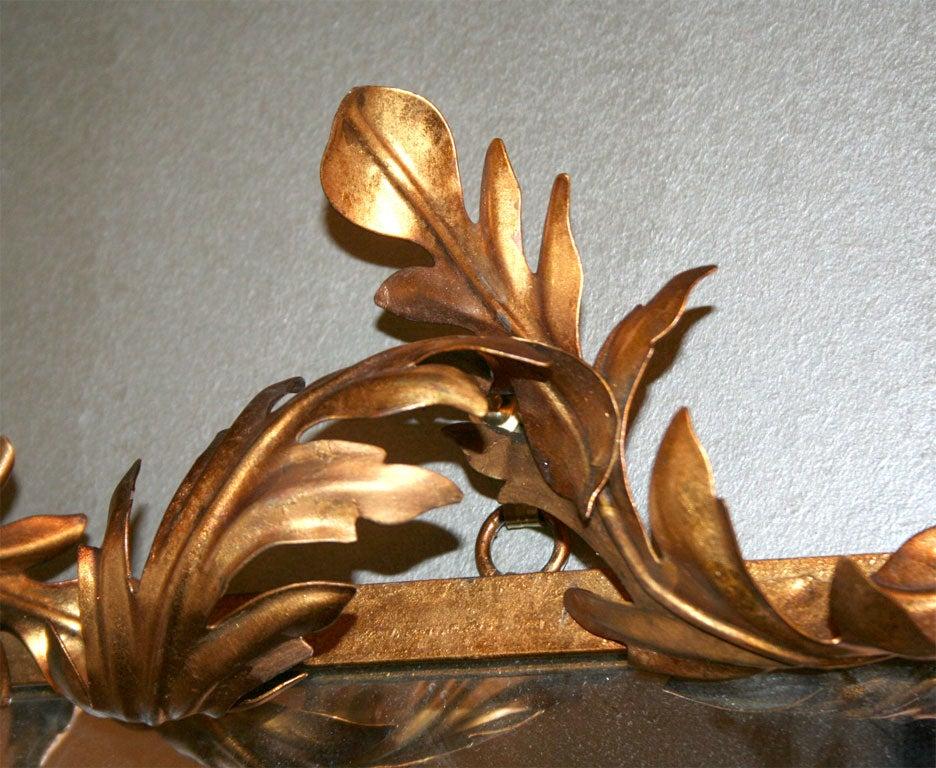 Gilt 1950s Italian Gilded Iron Acanthus Leaf Mirror For Sale