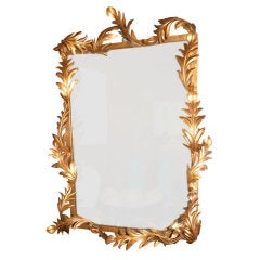 1950s Italian Gilded Iron Acanthus Leaf Mirror