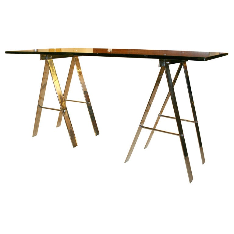 Vintage Sawhorse Table Or Console At 1stdibs