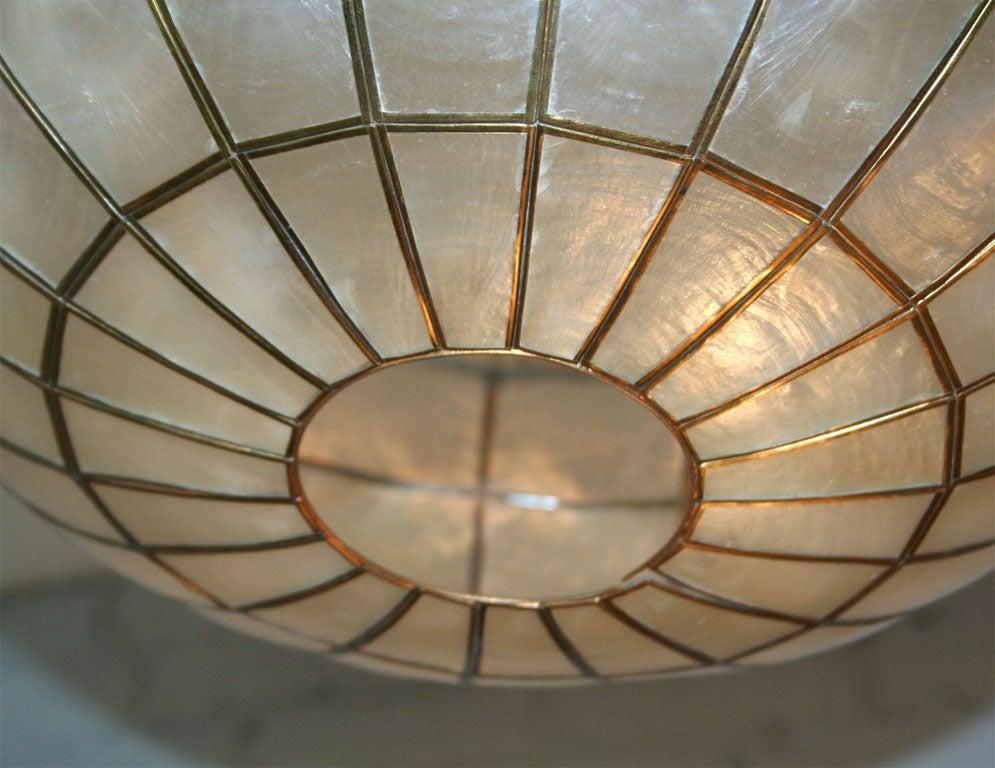 capiz shell and brass globe pendant at 1stdibs. Black Bedroom Furniture Sets. Home Design Ideas