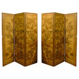 PAIR OF 19thC ENGLISH PAINTED LEATHER SCREENS