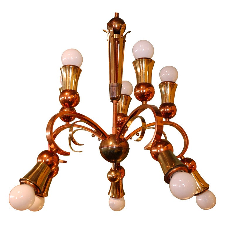 Brass and copper chandelier for sale at 1stdibs brass and copper chandelier 1 aloadofball Gallery