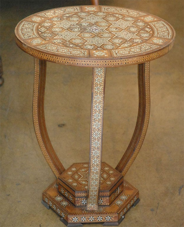 Syrian Round Side Table In Mother Of Pearl And Bone Inlaid