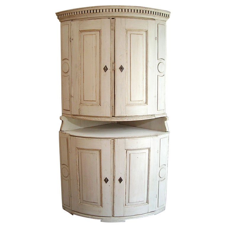 Swedish Round Fronted Corner Cabinet At 1stdibs
