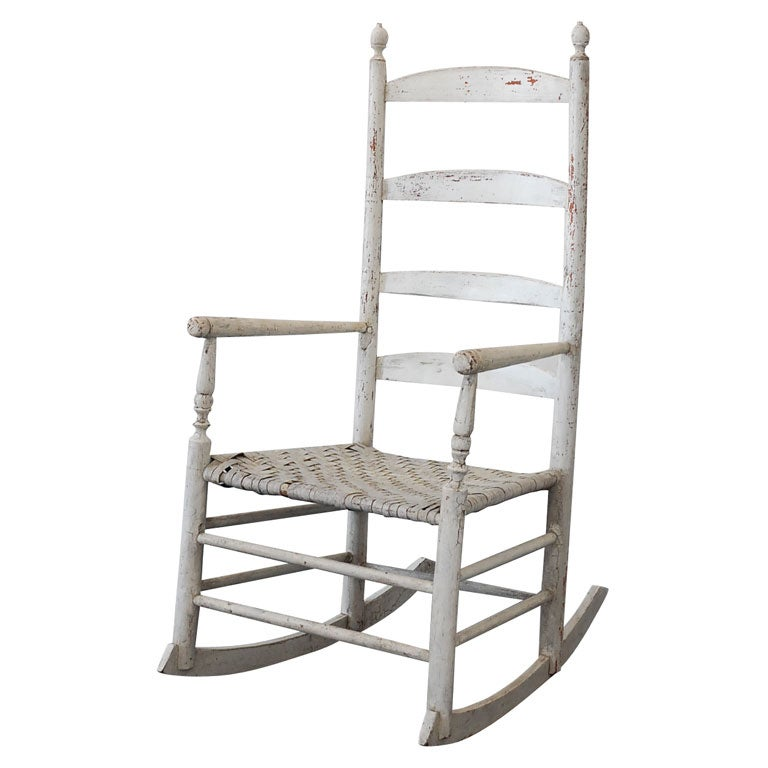 EARLY 19THC NEW ENGLAND LADDER BACK ROCKING CHAIR IN ORIGINAL WH at ...