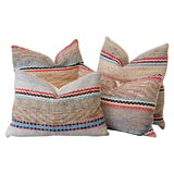 1930'S RAG RUG PILLOWS W/ SNAKE PATTERN ON A TAN GROUND