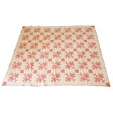 1920'S GEOMETRIC PINK & WHITE QUILT