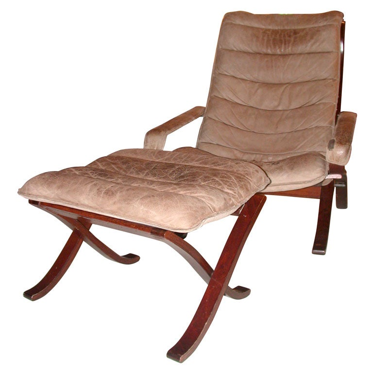 Wood And Leather Sling Back Chair And Ottoman At 1stdibs