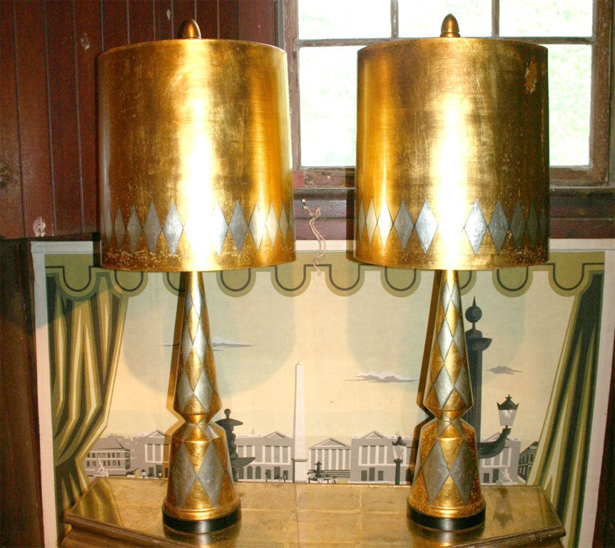 Silver and gold gilt diamond patterned wood lamps and shades with large matching wood acorn shaped finials. Shades are paper. Base is 7