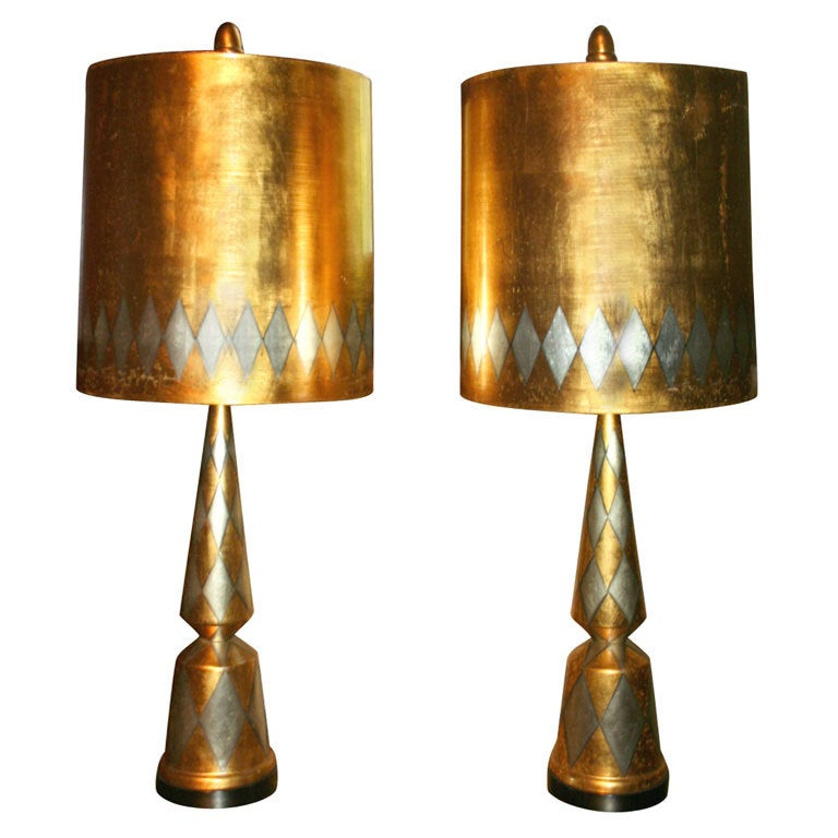 Pair of James Mont Harlequin Lamps For Sale