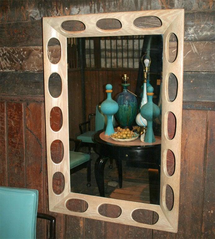 American Limed Oak Framed Mirror For Sale