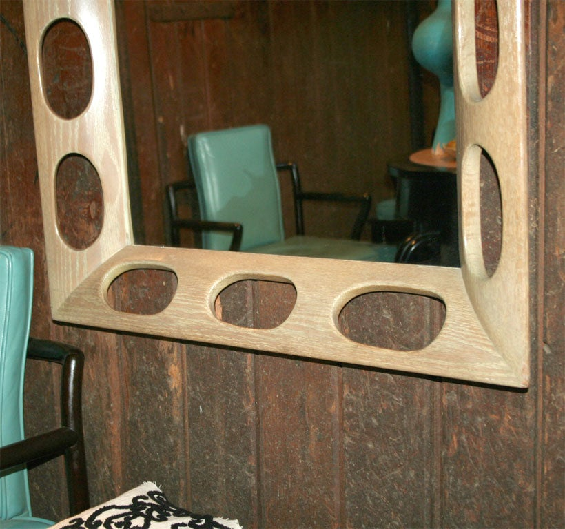 Limed Oak Framed Mirror In Excellent Condition For Sale In Stamford, CT