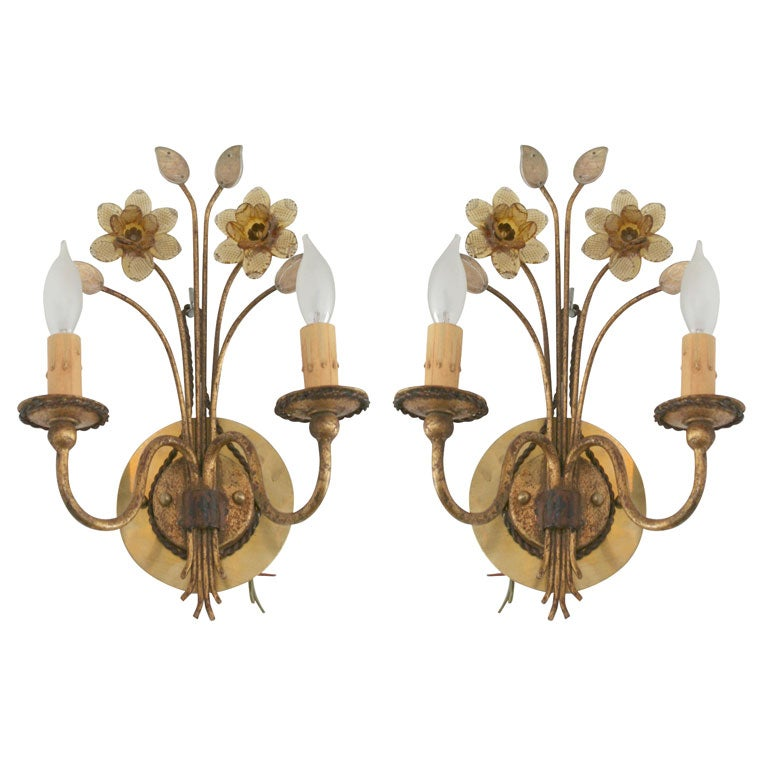 Pair Of Gilt Metal And Pressed Glass Daffodil Sconces At 1stdibs