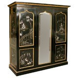 English Victorian Lacquered  Papier Mache Wardrobe