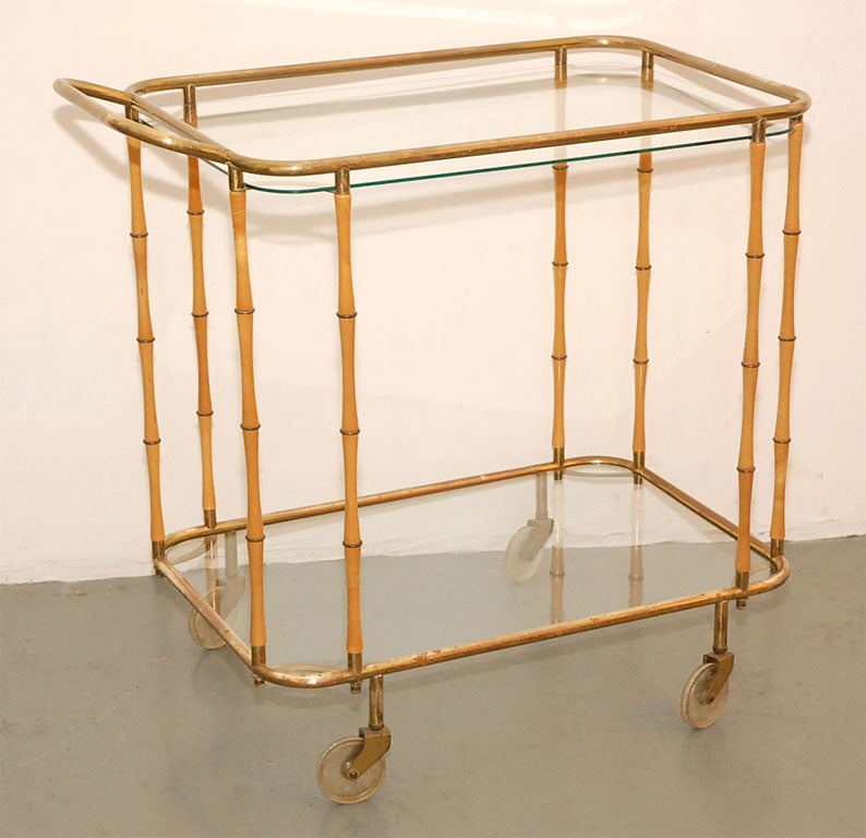 Bamboo and brass rolling barcart with great patina and detailing.