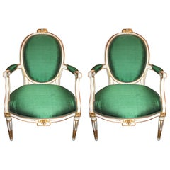 Pair of Louis XVI Parcel Gilt Fauteuil's, 18th Century