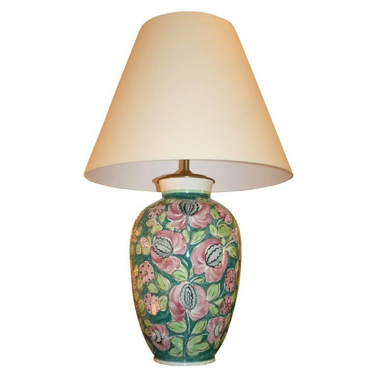 Large Floral Ceramic Table Lamp at 1stdibs