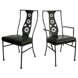 Set of eight Salterini painted metal faux bamboo dining chairs