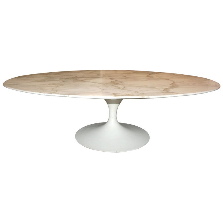 Knoll White Carrera Oval Marble Saarinen Coffee Table At