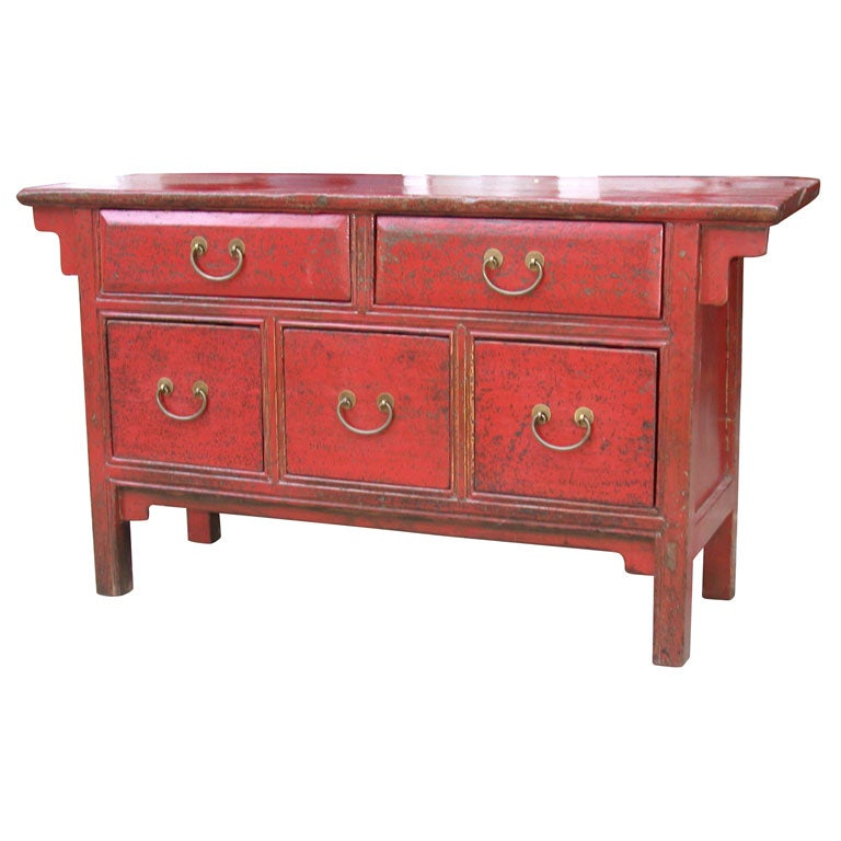 Late 19thC. Q'ing Dynasty Shanxi Red Lacquered 5 Drawer Chest