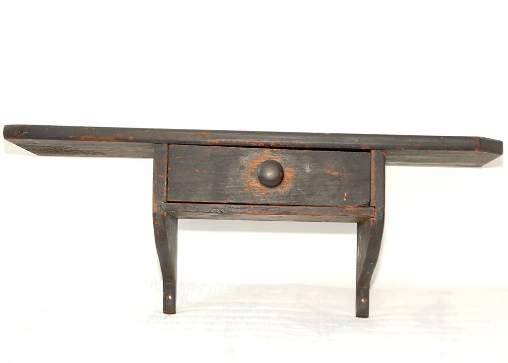 Early 19thc Original Black Painted Wall Shelf W Drawer At