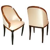 Set of Four Burled Carpathian Elm Gondola Dining Chairs