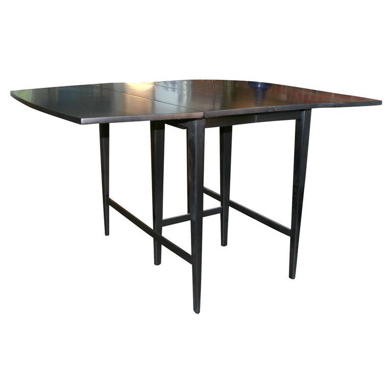 Paul mccobb drop leaf extension black lacquer table at 1stdibs for Drop leaf extension table