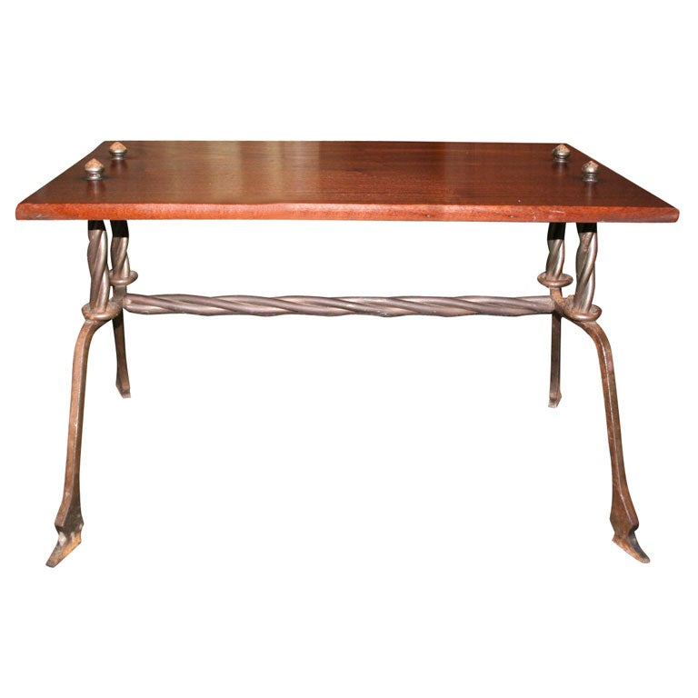 Wood And Hand Wrought Iron Table At 1stdibs