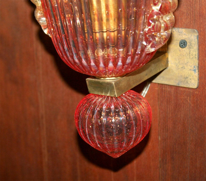 Venetian Glass Wall Lights : Pair of Venetian Murano Glass Sconces For Sale at 1stdibs