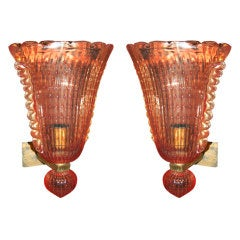 Pair of Venetian Murano Glass Sconces