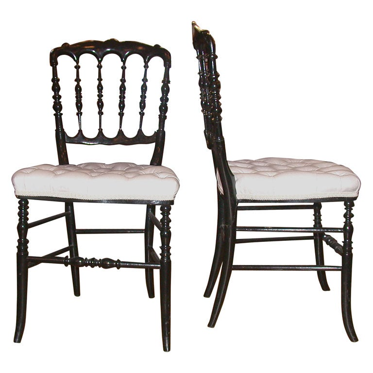 Pair of Ebonized Bobbin Chairs at 1stdibs