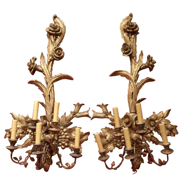Large Pair of Italian Carved Wall Sconces