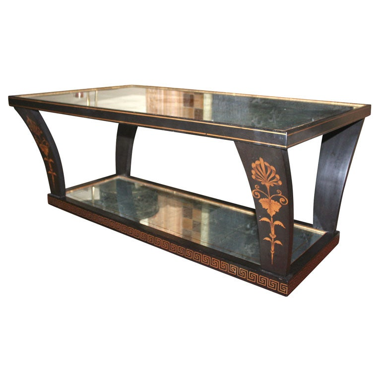 Silver Leafed Glass Coffee Table At 1stdibs