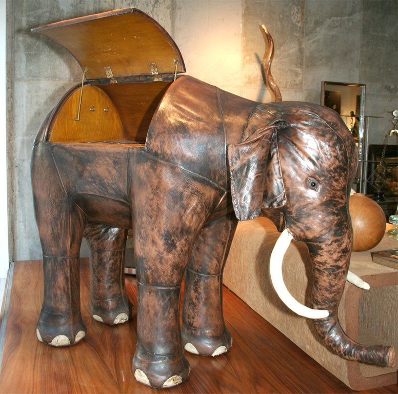 Amazing leather and wood elephant bar. A unique commission for a British diplomat. A simply phenomenal object.