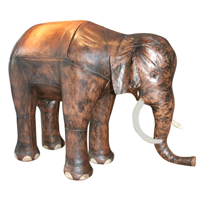 Giant Abercrombie And Fitch Leather Elephant Bar At 1stdibs