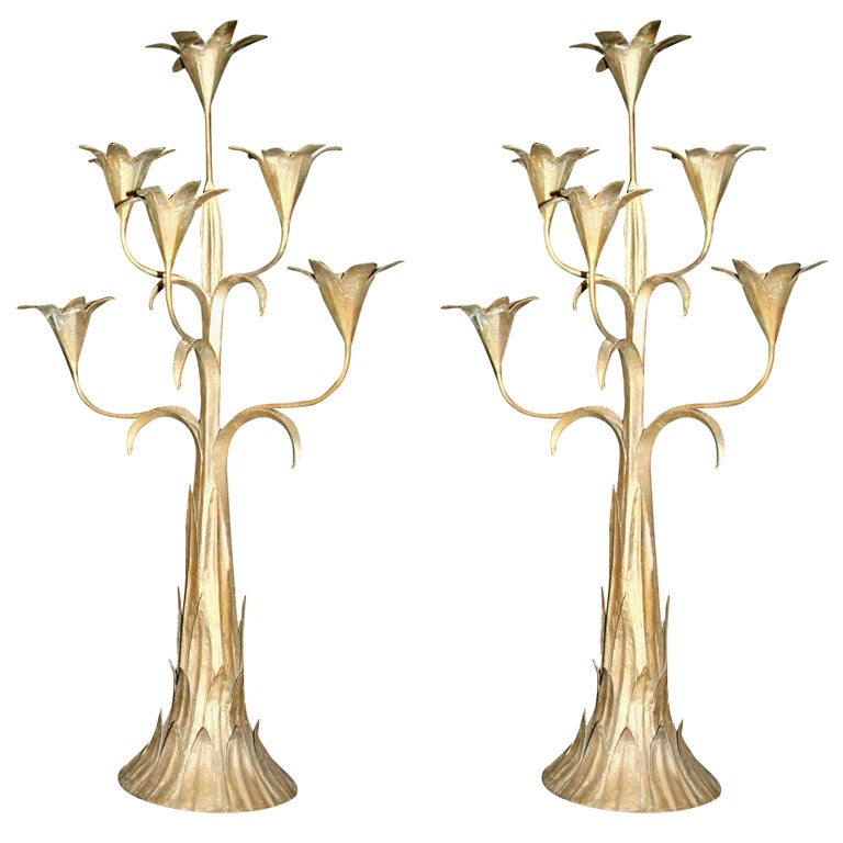 Pair Of Painted Tole And Iron Six Light Candelabra At 1stdibs