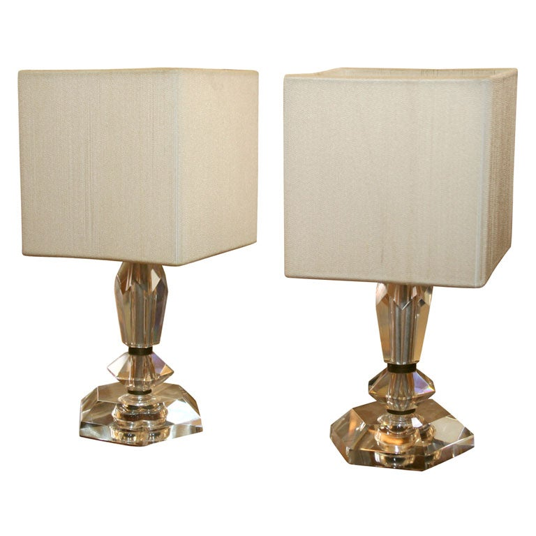 pair of small crystal table lamps at 1stdibs. Black Bedroom Furniture Sets. Home Design Ideas