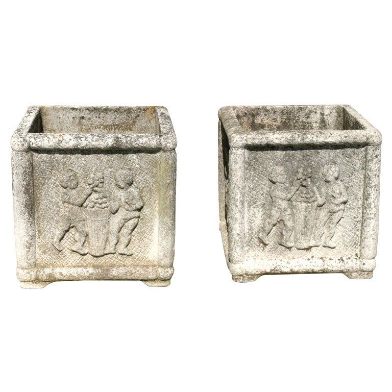 Set of 4 french cast concrete planters at 1stdibs - Casting concrete planters ...
