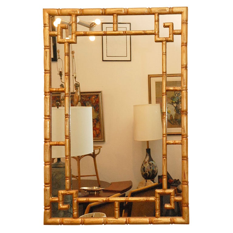 Faux Bamboo Gilt Gold Leaf Mirror At 1stdibs