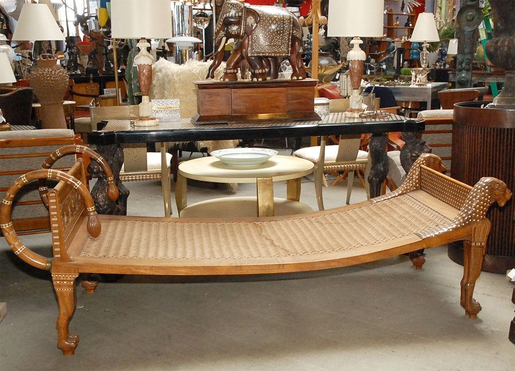 Ancient Egyptian style shell & ivory inlaid mahogany chaise lounge