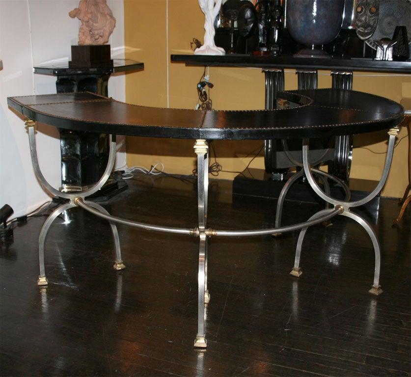 Polished Steel Semi Circular Desk by Jansen French circa